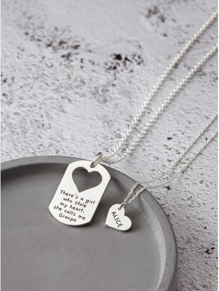 Father Daughter Necklace Set - There's a Girl Who Stole My Heart