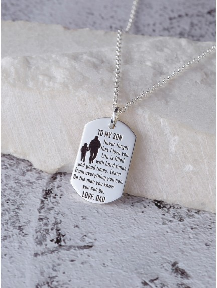 Father Son Necklace - To my son Never forget that I love you