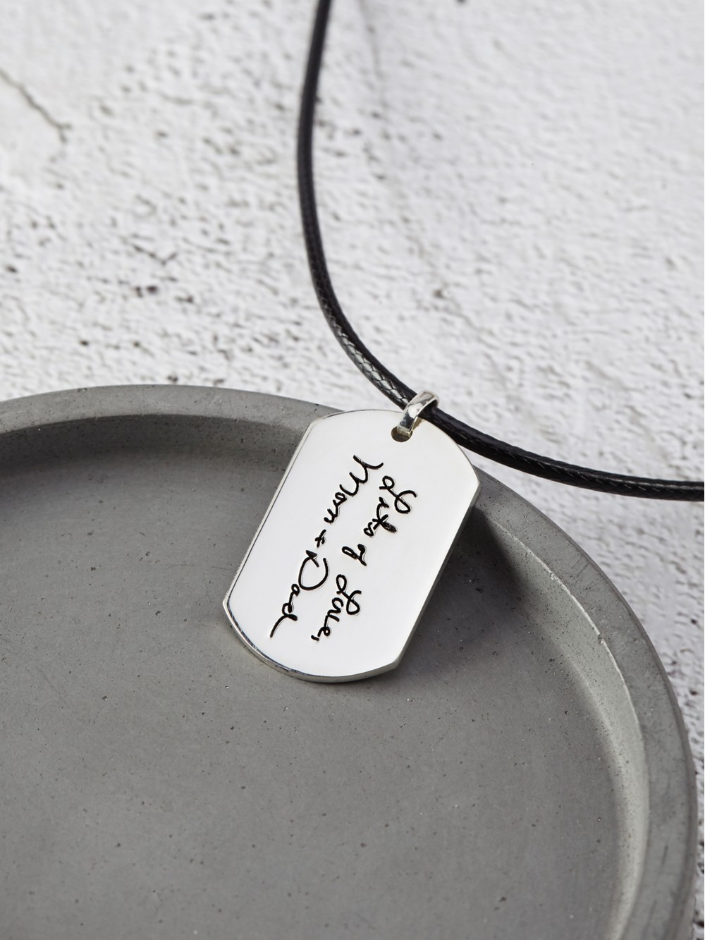 Handwriting Necklace for Men - Leather Cord