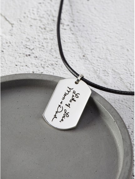 535cd2fd69ac5 Handwriting Necklace for Men - Leather Cord