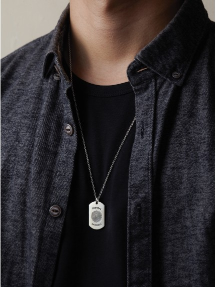 Engraved Dog Tag Necklace with Thumbprint