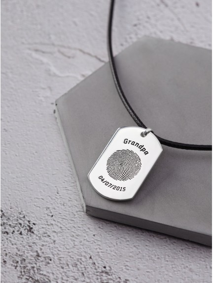 Thumbprint Necklace for Him - Leather Cord
