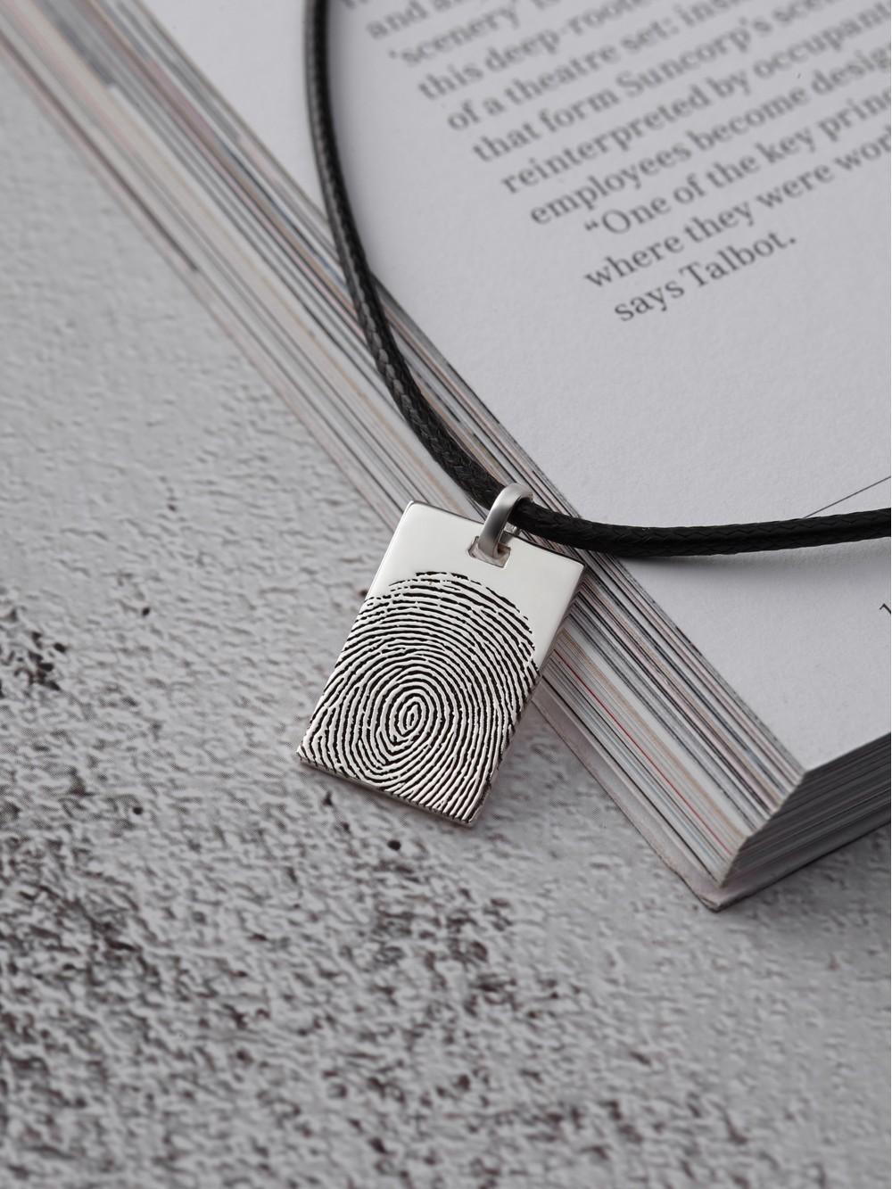 Men's Fingerprint Necklace - Leather Cord