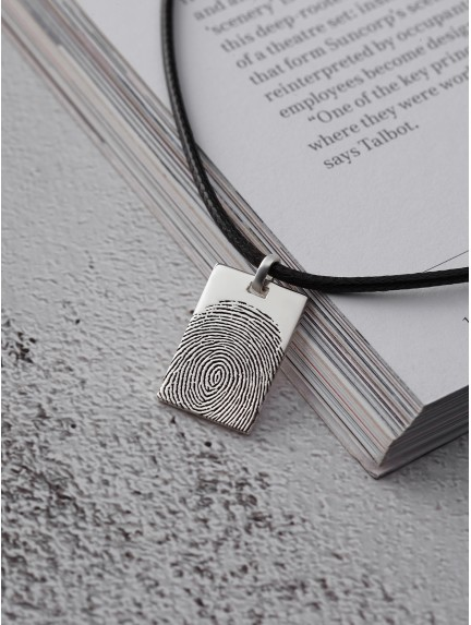Men's Fingerprint Necklace - Leather Cord