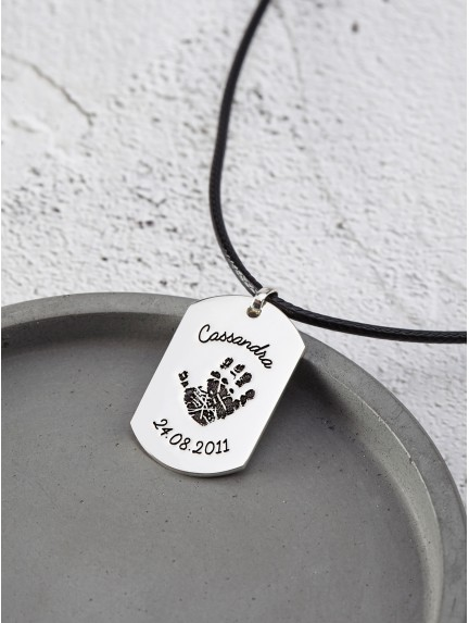Dog Tag Necklace with Kid's Handprint - Leather Cord