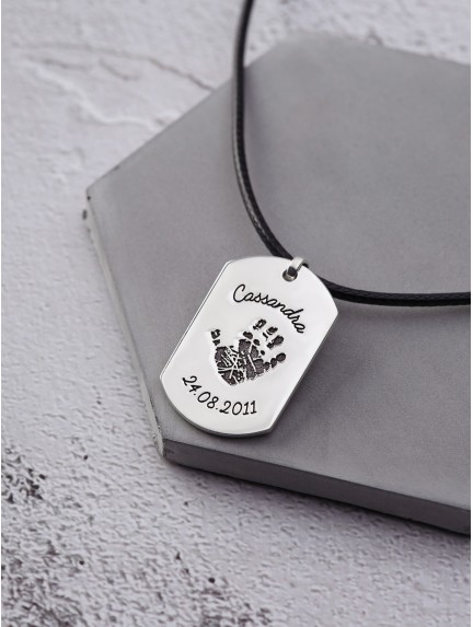 Dog Tag Necklace with Kid's Footprint - Leather Cord