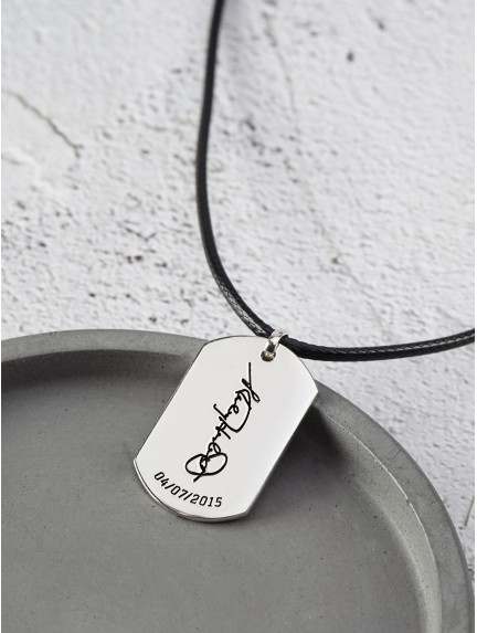 Custom Dog Tag Necklace with Signature - Leather Cord