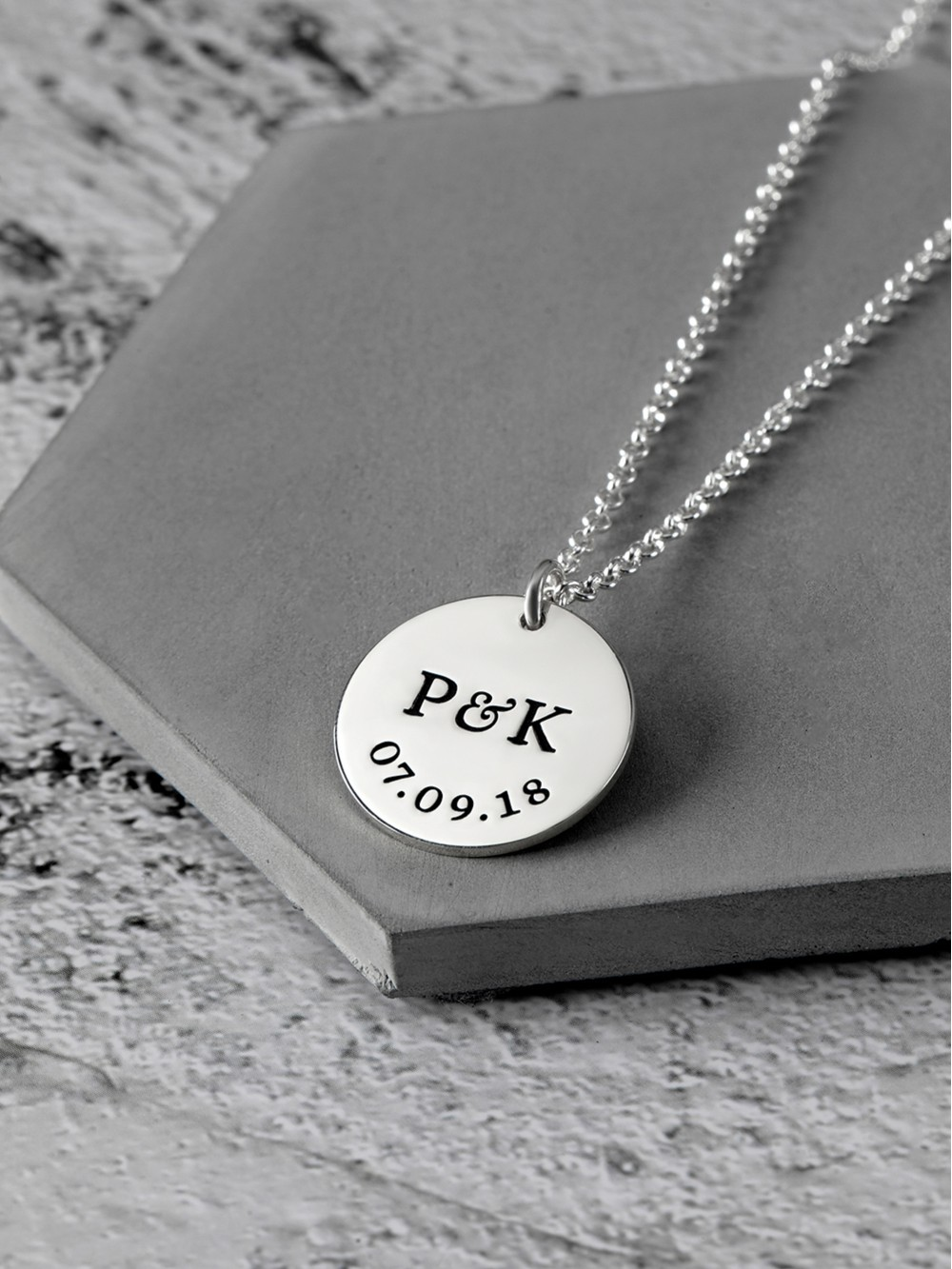 Relationship Necklace for Boyfriend - Initials & Dates