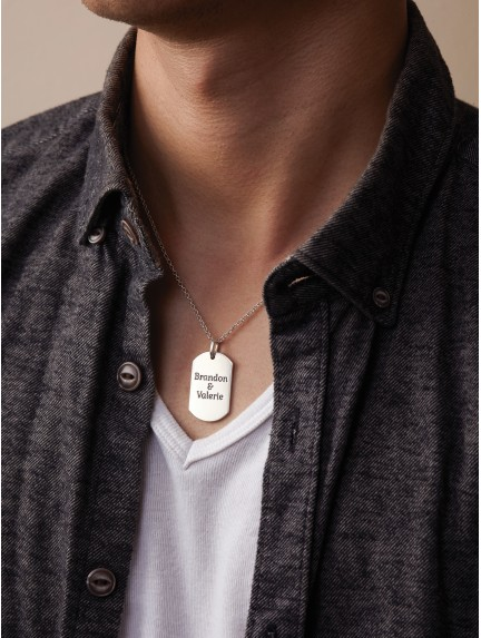 Customized Necklace for Him - Dog Tag Necklace