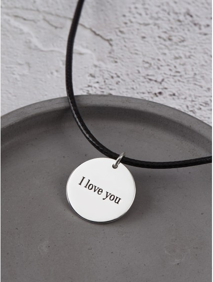 Engraved Necklace for Him - Leather Cord