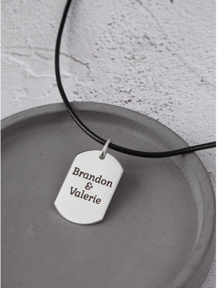 Custom Dog Tag Necklace - Leather Cord