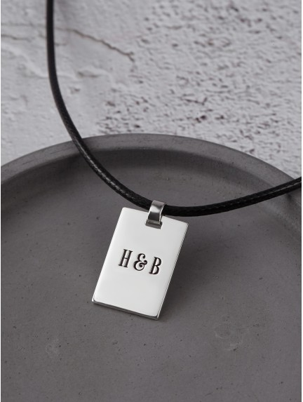 Men's Engraved Necklace - Leather Cord