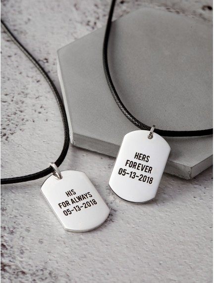 His Queen Her King Couple Necklaces - Leather Cord