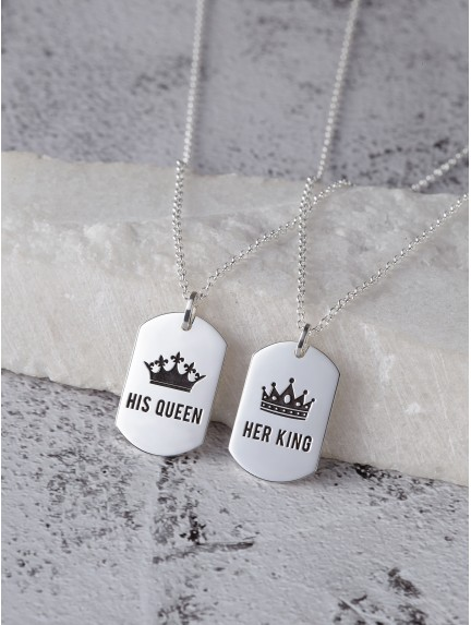 His Queen Her King Necklaces For Couples