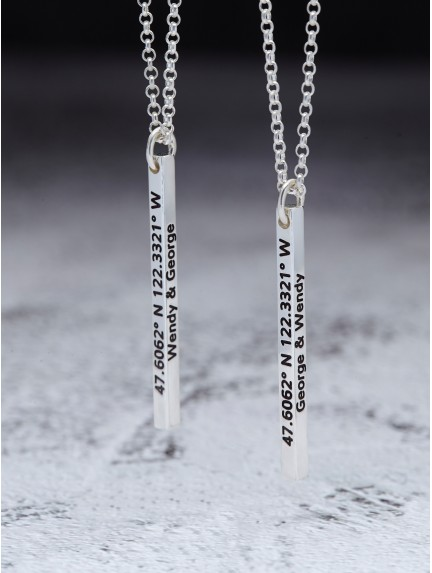 His and Hers Necklaces - 4 Sided Engravings