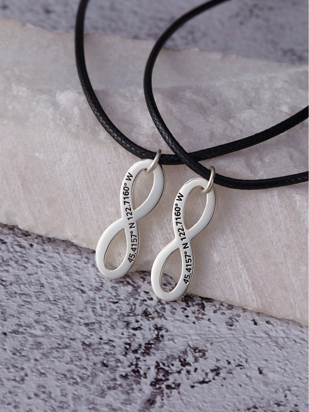 Coordinates Engraved Necklaces for Couples - Leather Cord