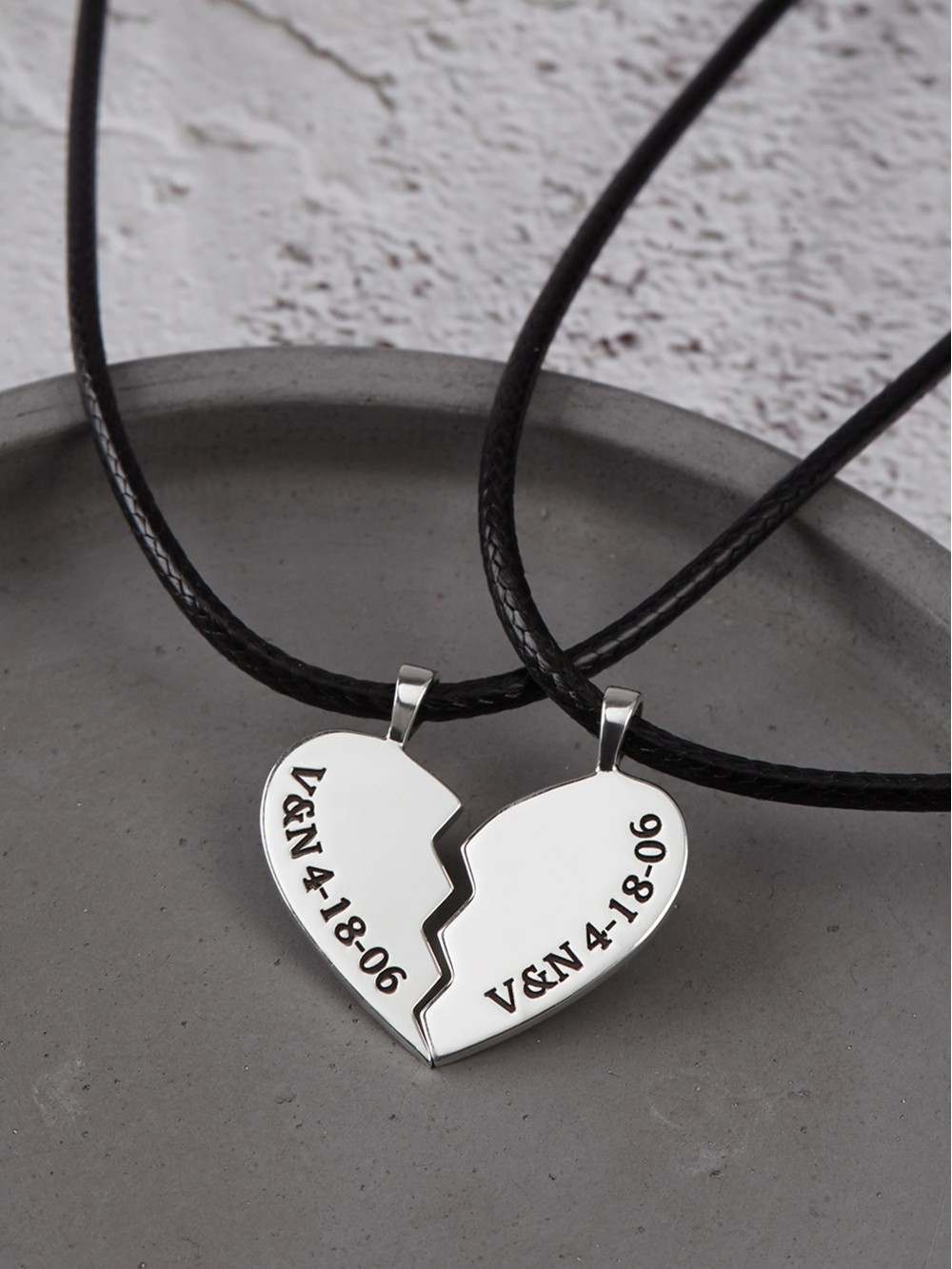 Couple Heart Necklaces - Leather Cord