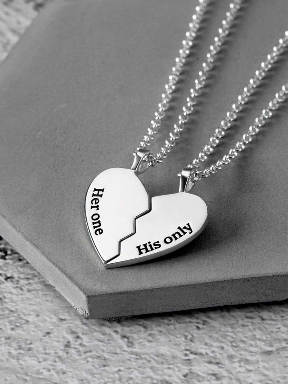 Half Heart Necklace for Couples