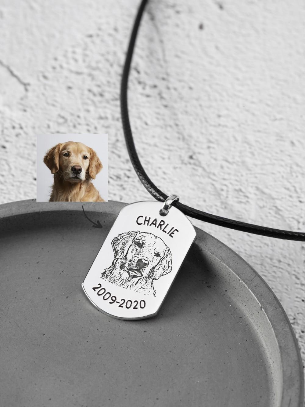 Pet Portrait Necklace For Men