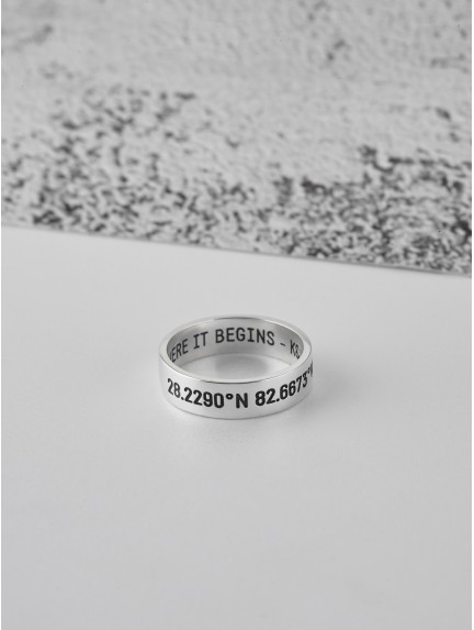 Men's Engraved Ring - Coordinates