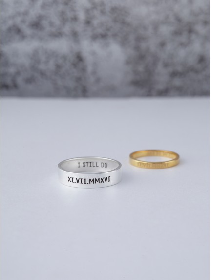 Couple Rings - Roman Numerals