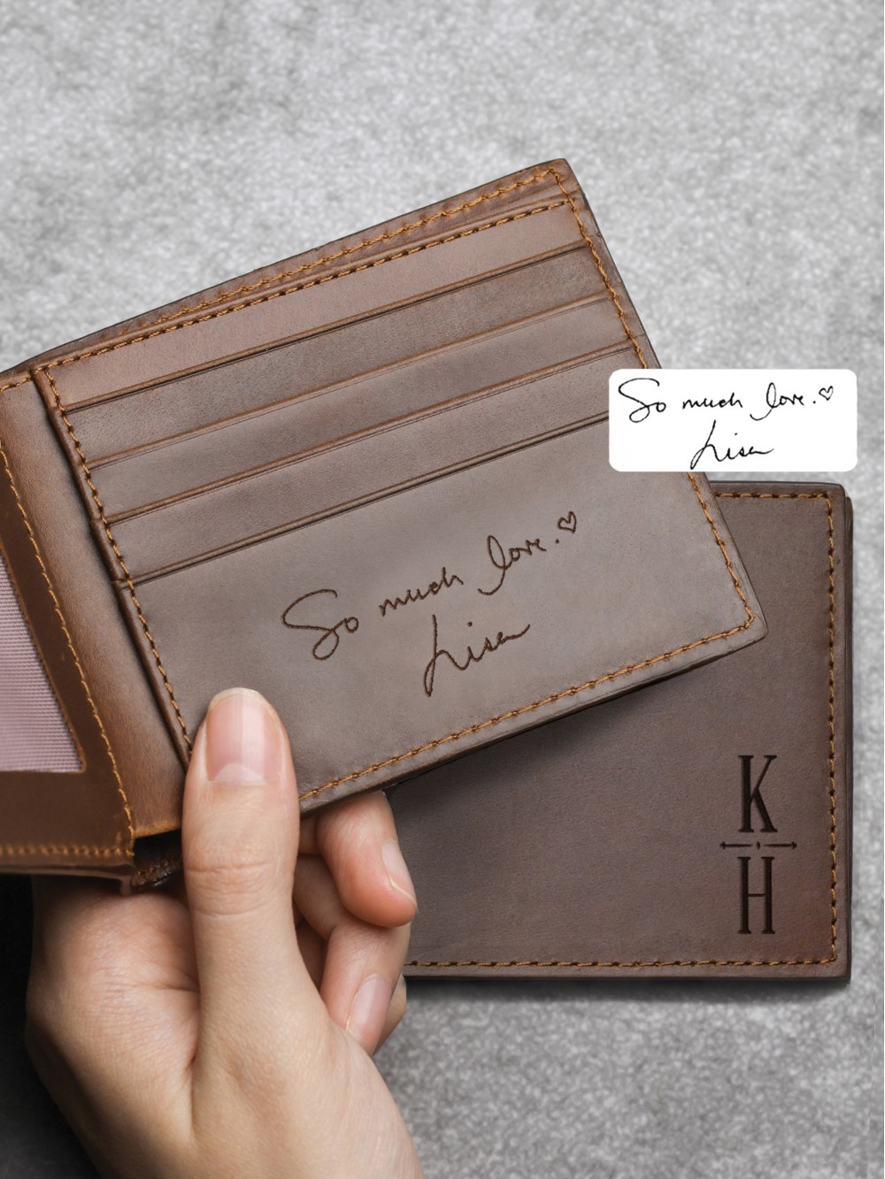 Personalized Handwriting Wallet - Genuine Leather
