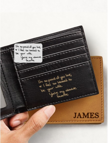 Personalized Handwriting Wallet - Vegan Leather