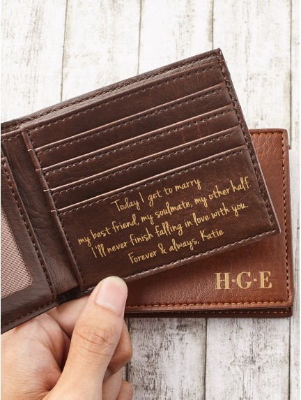 Mens Personalized Wallet - Vegan Leather