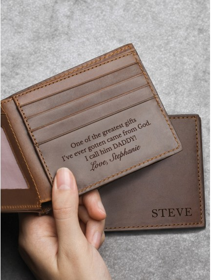 Engraved Wallet for Grandpa - Genuine Leather