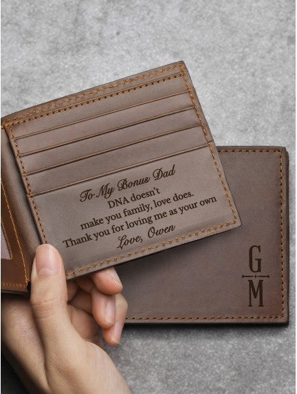 Personalized Wallet For Step Dad - Genuine Leather