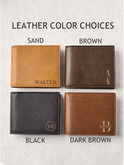 Personalized Wallet For Dad - Vegan Leather