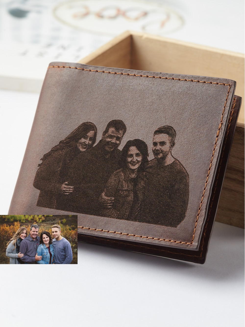 Family Photo Engraved Wallet