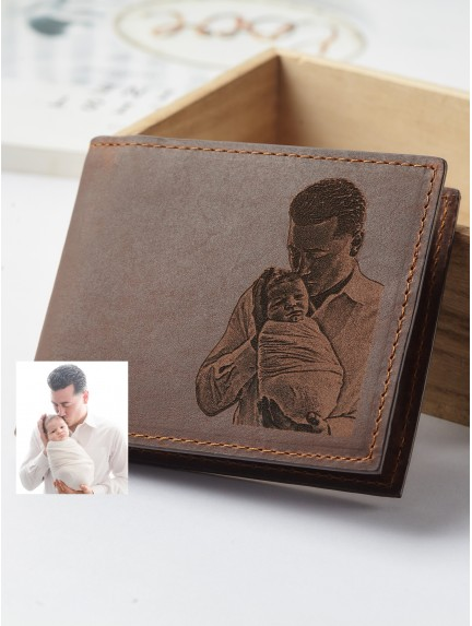 Photo Engraved Wallet For New Dad