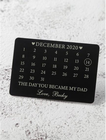 Calendar Wallet Card for New Dad - Aluminium