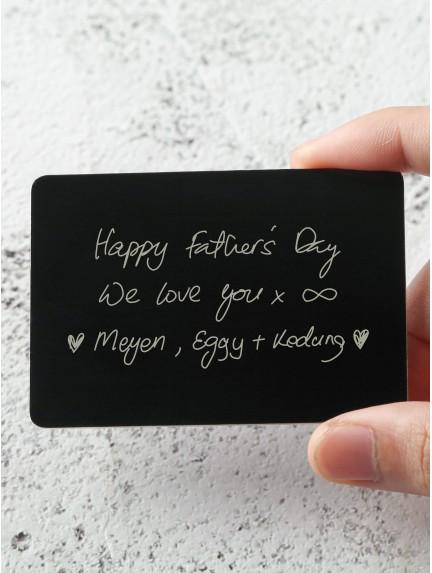 Handwriting Wallet Insert For Dad - Aluminium
