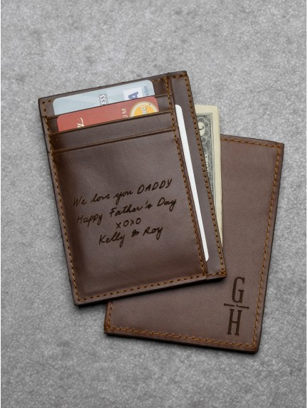 Personalized Handwriting Card Holder - Genuine Leather
