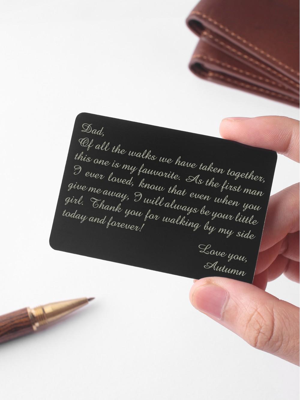 Engraved Wallet Insert For Dad - Aluminium