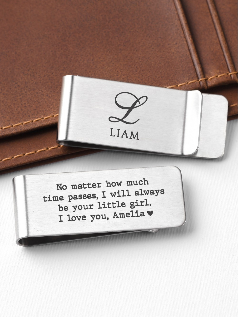 Personalized Stainless Steel Money Clip For Dad From Daughter
