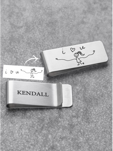 Money Clip With Kid's Drawing - Stainless Steel