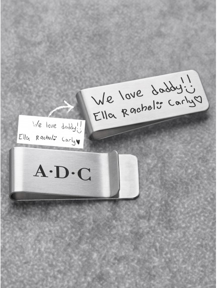 Handwriting Money Clip For Dad - Stainless Steel